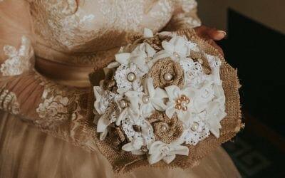 Poročni šopek iz blaga